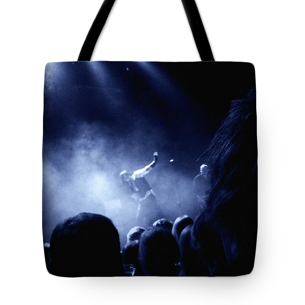 Rock Tote Bag featuring the photograph On Stage by Are Lund