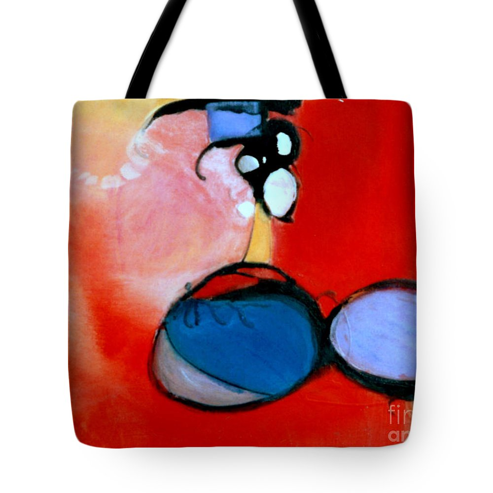 Abstract Tote Bag featuring the painting On The Ball by Marlene Burns