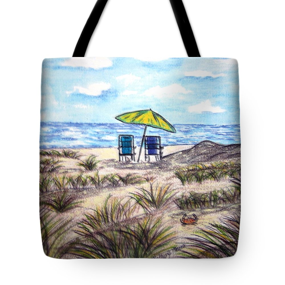 Beach Tote Bag featuring the painting On The Beach by Kathy Marrs Chandler