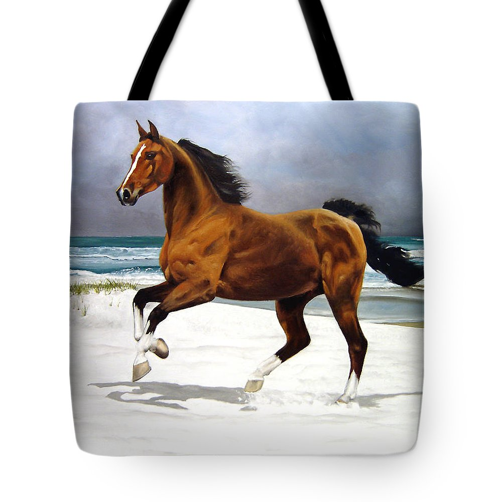 Horse Tote Bag featuring the painting On The Beach by Marc Stewart