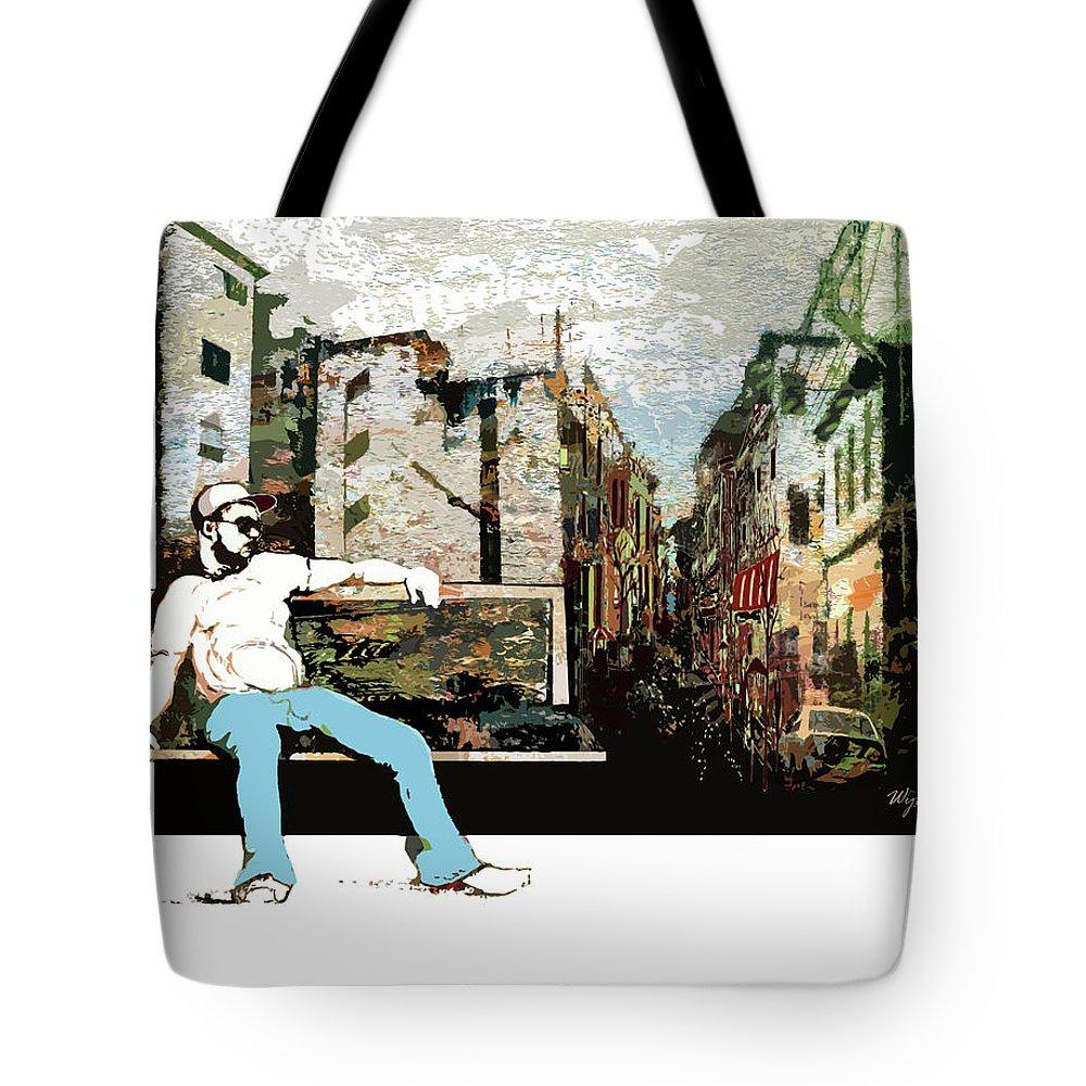 Regina Wyatt Tote Bag featuring the digital art On the Bench by Regina Wyatt