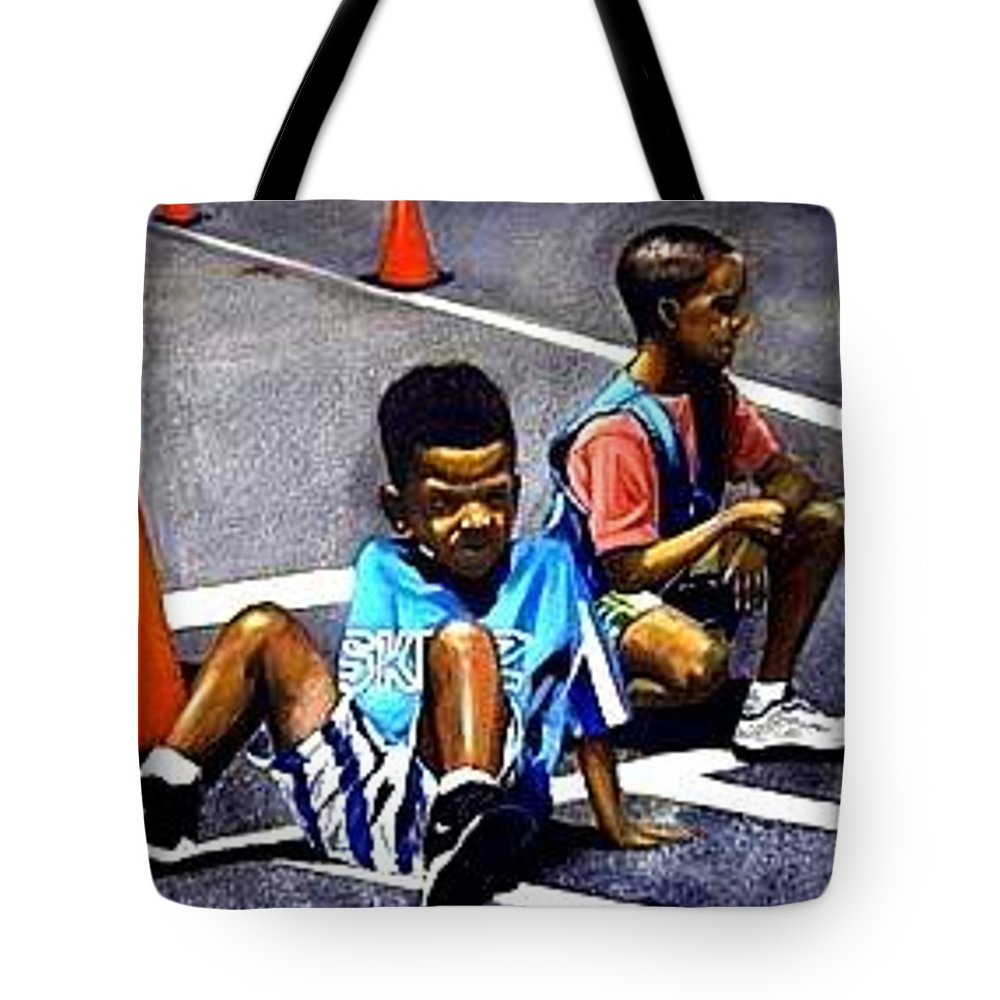 Oil Tote Bag featuring the painting On The Blacktop by Booker Poole