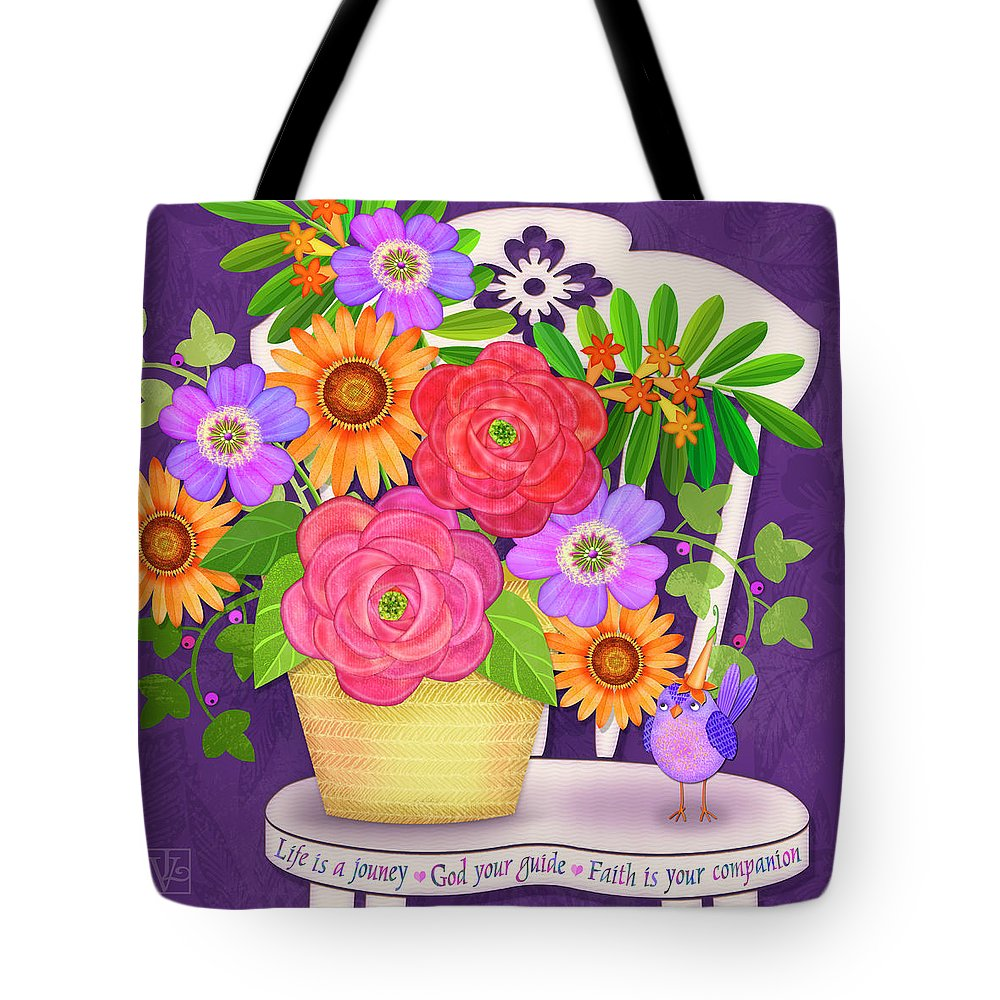 Flowers Tote Bag featuring the digital art On The Bright Side - Flowers Of Faith by Valerie Drake Lesiak
