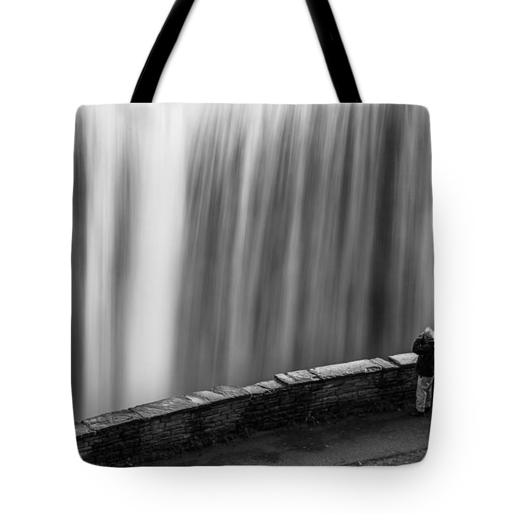 Letchworth Tote Bag featuring the photograph On The Brink by Dave Niedbala