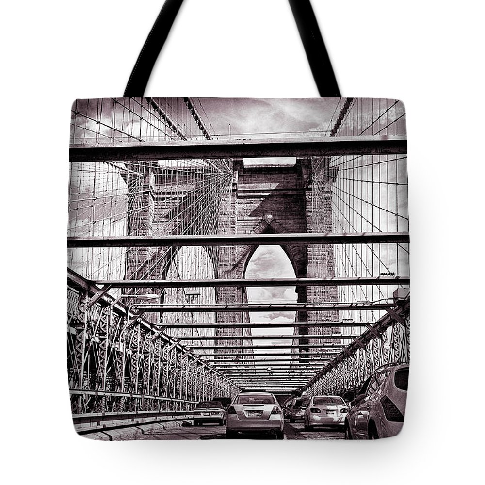 Bridge Tote Bag featuring the photograph On The Brooklyn Bridge by Madeline Ellis