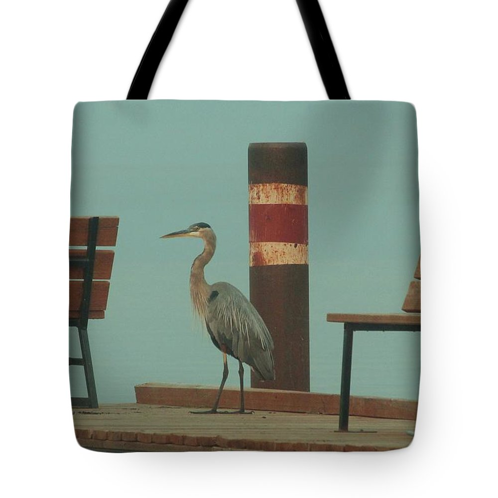 Heron Tote Bag featuring the photograph On The Dock With Heron by Roxanne Basford