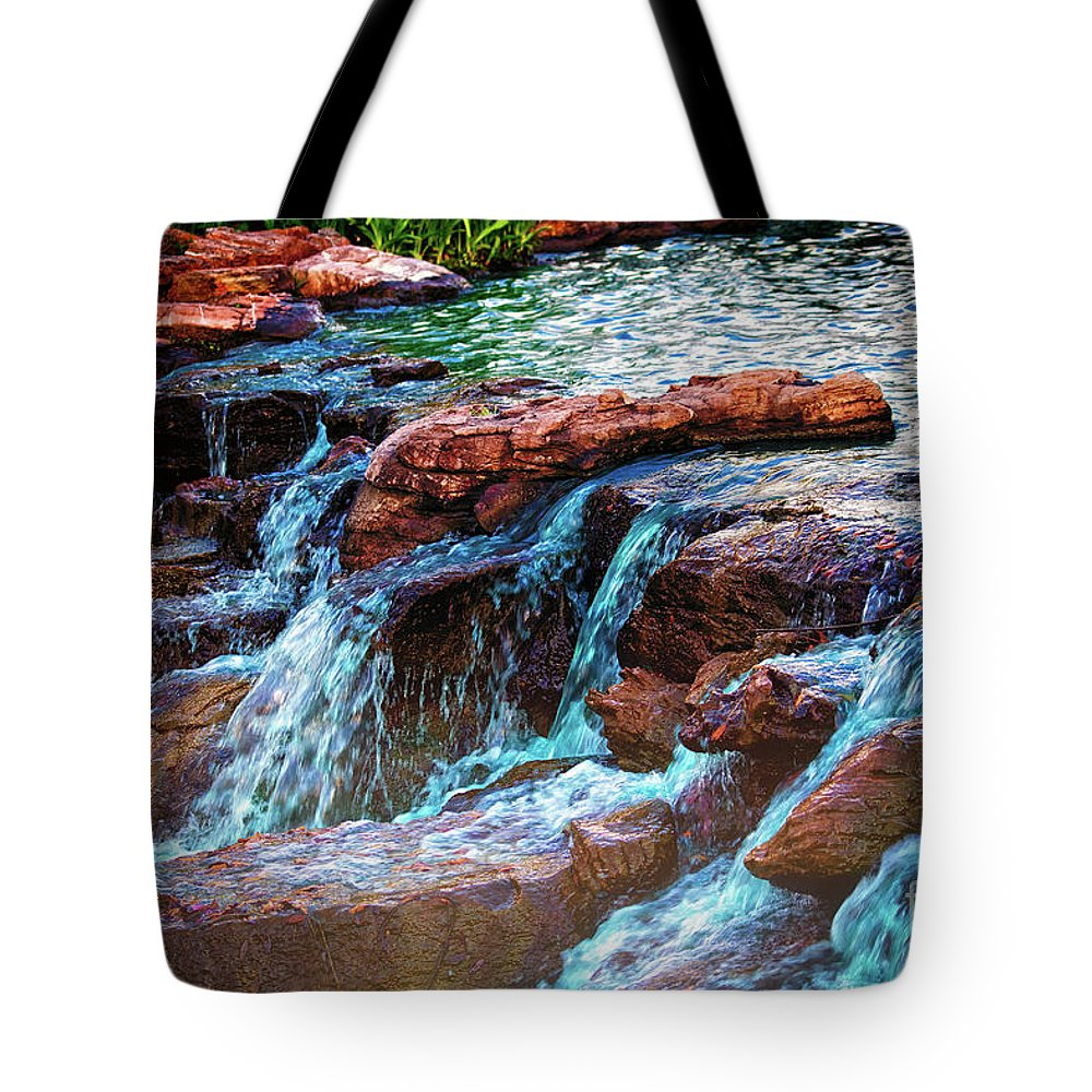 Waterfall Tote Bag featuring the photograph On The Edge by JB Thomas