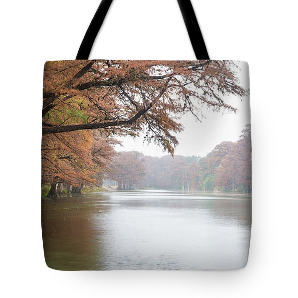 Bald Cypress Tote Bag featuring the photograph On The Frio River by Cathy Alba
