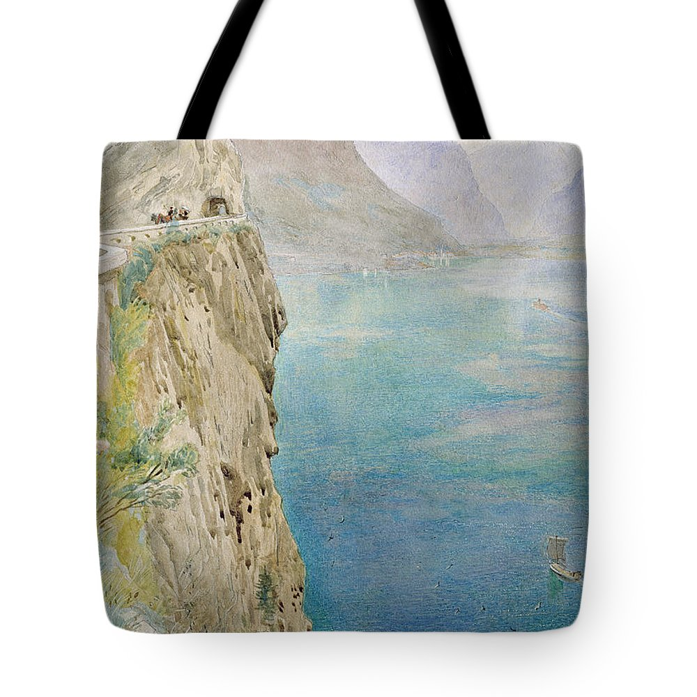 The Tote Bag featuring the painting On The Italian Coast by Harry Goodwin