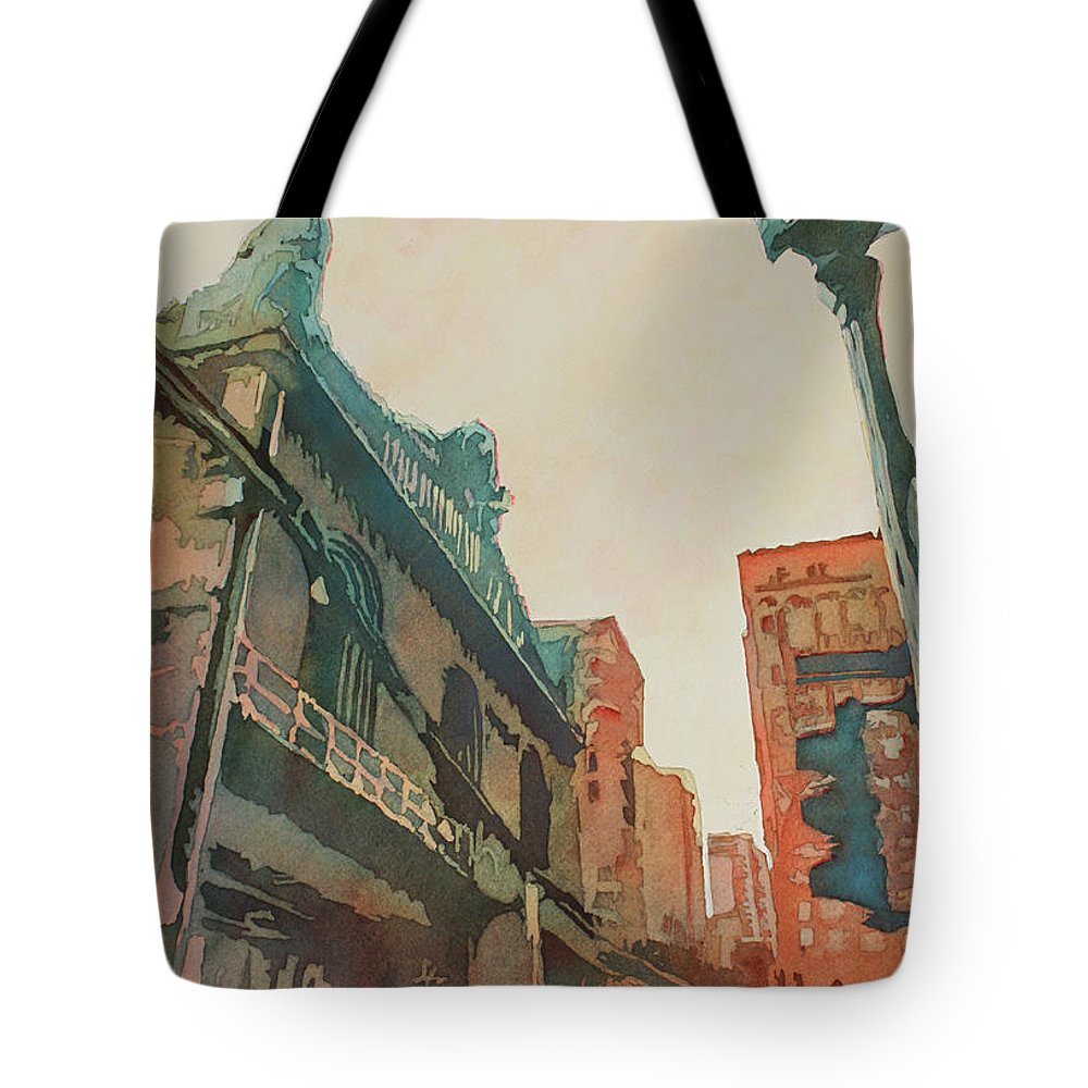 Chicago Tote Bag featuring the painting On The Loop by Jenny Armitage