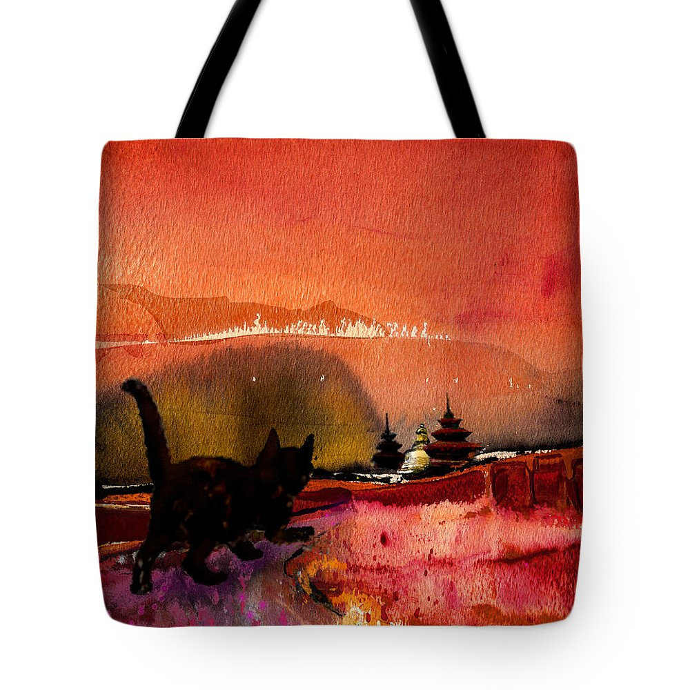 Animals Tote Bag featuring the painting On The Road To Catmandu by Miki De Goodaboom