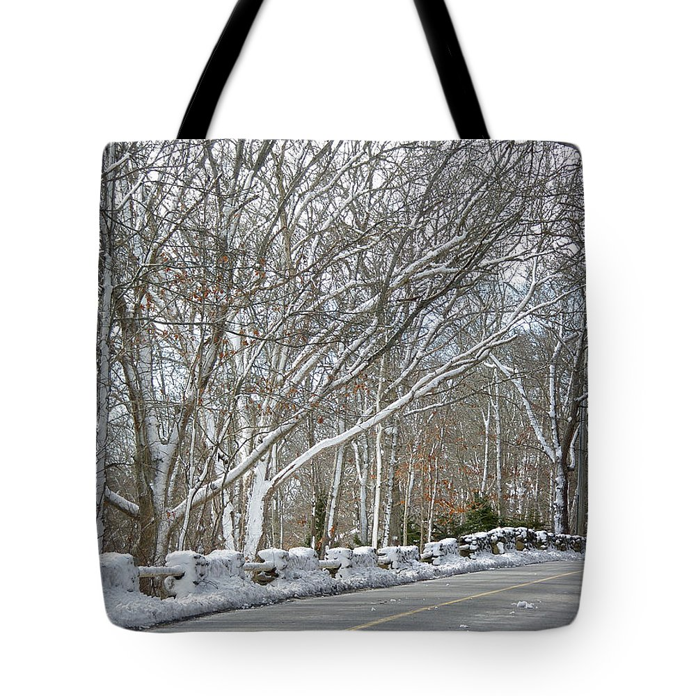 Winter Tote Bag featuring the photograph On The Road To Woods Hole by Mother Nature