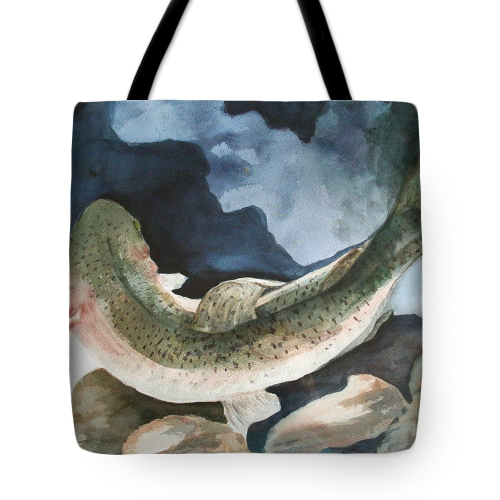 Canvas Prints Tote Bag featuring the painting On The Rocks by Donna Steward