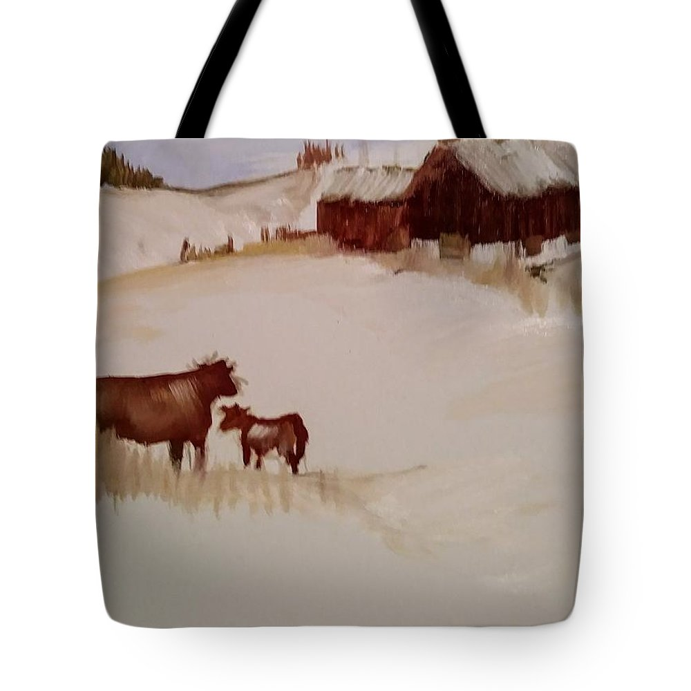 Cows Tote Bag featuring the painting On The Way Home by Joyce Jenner
