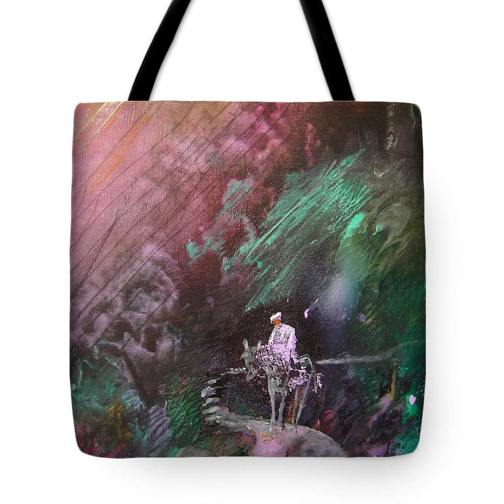Acrylics Tote Bag featuring the painting On The Way by Miki De Goodaboom