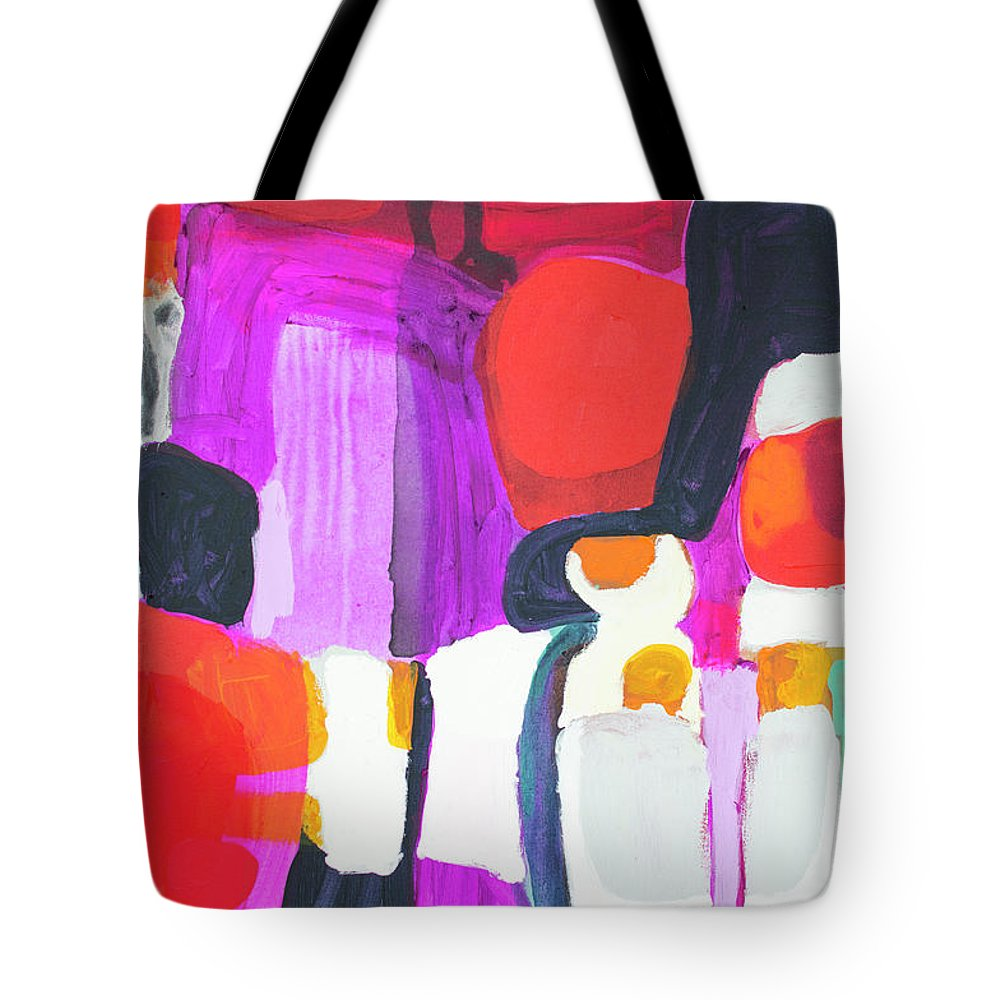 Abstract Tote Bag featuring the painting On Time by Claire Desjardins