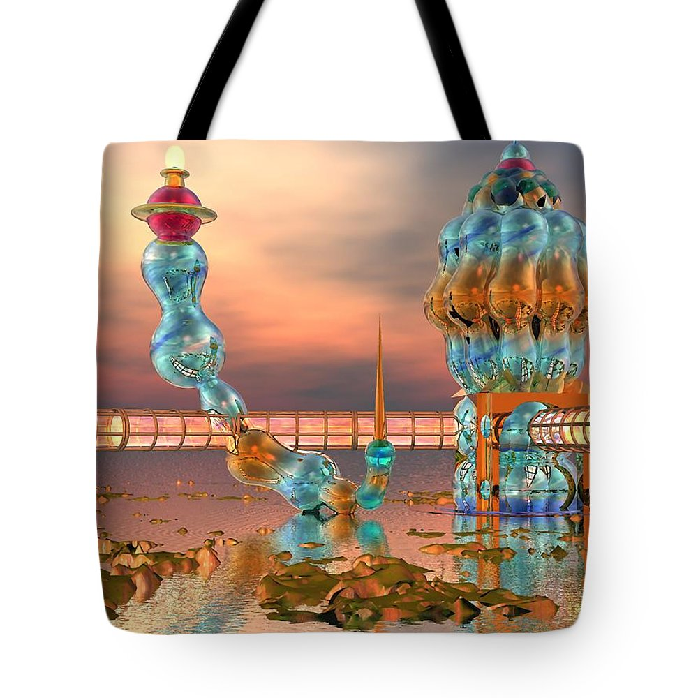 Landscape Tote Bag featuring the digital art On Vacation by Dave Martsolf