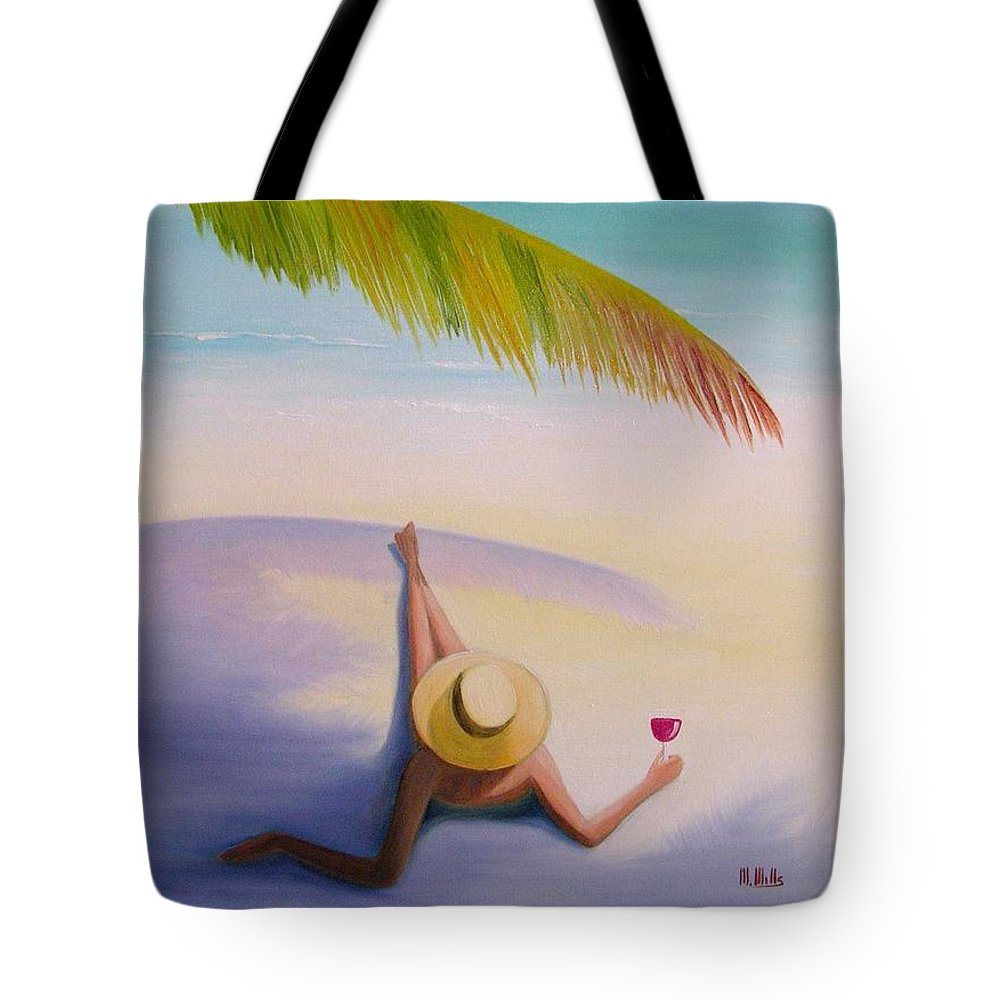 Beaches Tote Bag featuring the painting On Vacation by Maria Mills