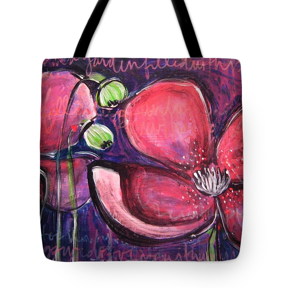 Purple Tote Bag featuring the painting Once I Was In A Garden Filled With Poppies by Laurie Maves ART