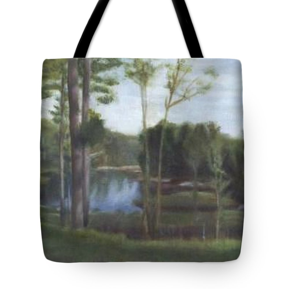 Landscape Tote Bag featuring the painting Once by Sheila Mashaw