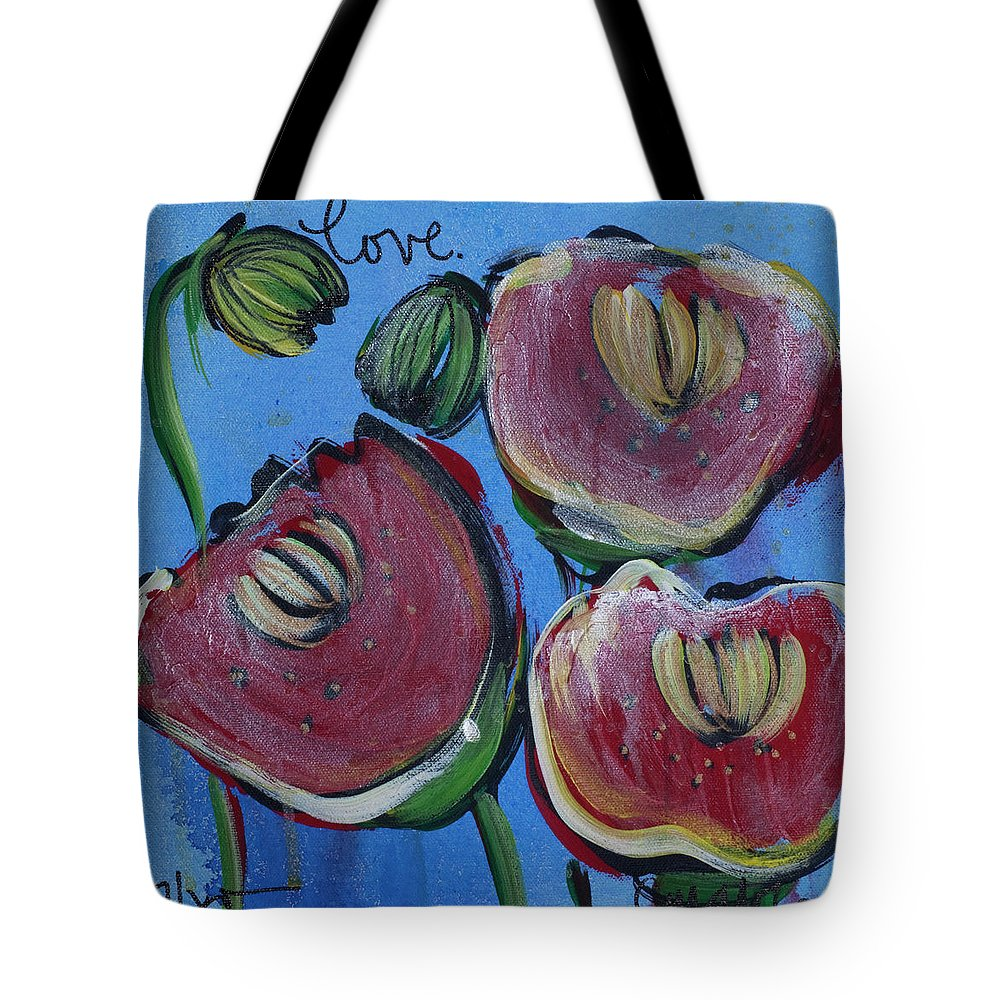 Blue Tote Bag featuring the painting Once Upon A Yoga Mat Poppies 3 by Laurie Maves ART