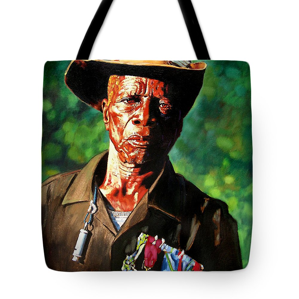Black Soldier Tote Bag featuring the painting One Armed Soldier by John Lautermilch