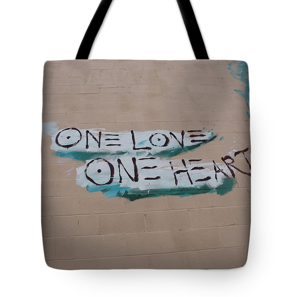 Wall Art Tote Bag featuring the photograph One Love One Heart by Deborah Napelitano