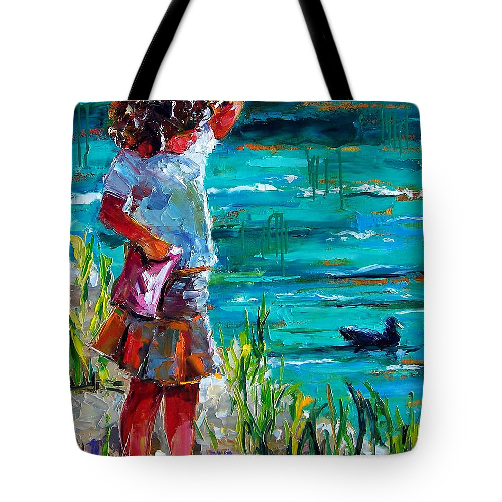 Children Tote Bag featuring the painting One Lucky Duck by Debra Hurd