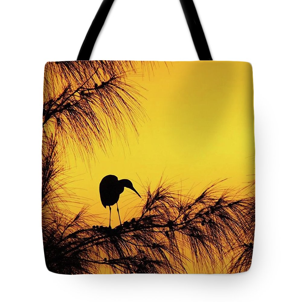Egret Tote Bag featuring the photograph One Of A Series Taken At Mahoe Bay by John Edwards