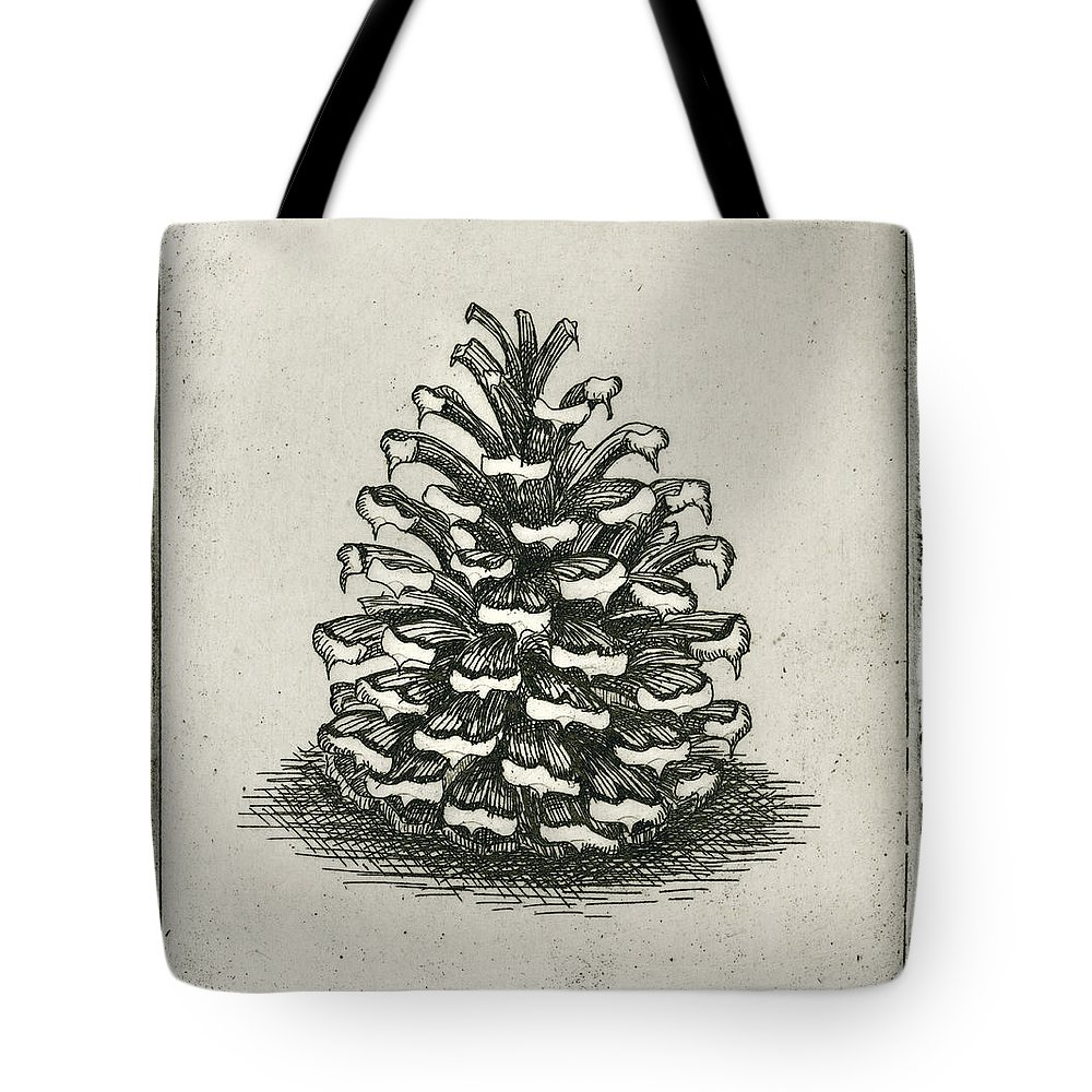 Charles Harden Tote Bag featuring the drawing One Pinecone by Charles Harden