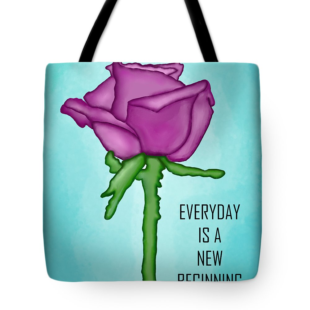 One Rose Everyday Tote Bag featuring the digital art One Rose Everyday by Priscilla Wolfe