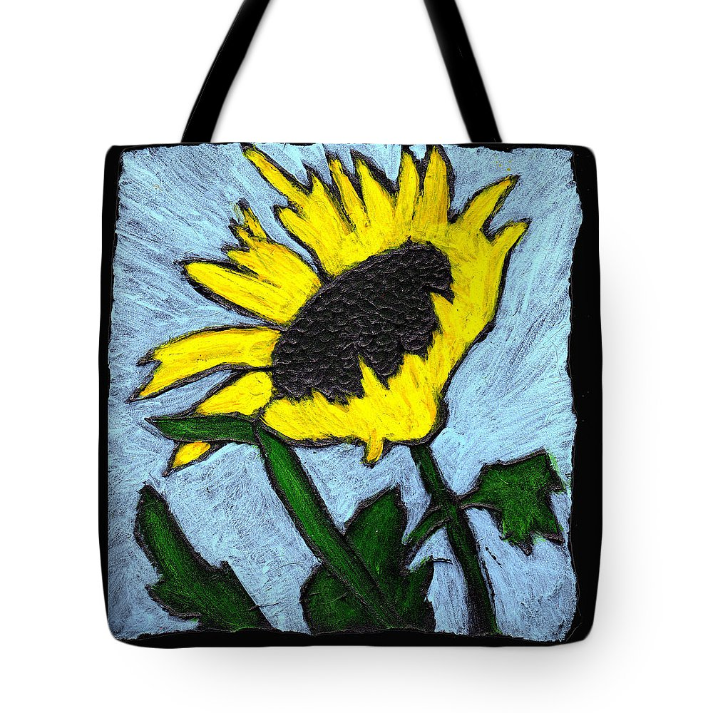 Flower Tote Bag featuring the painting One Sunflower by Wayne Potrafka