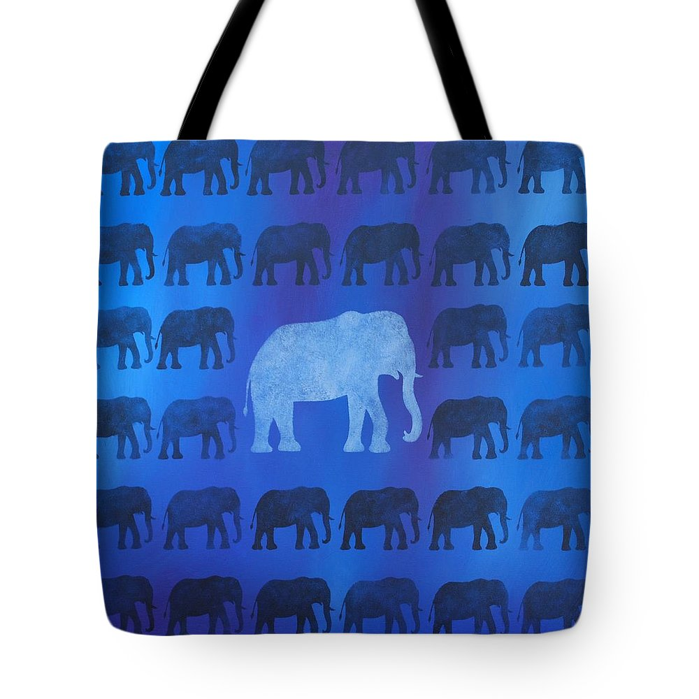 Elephant Tote Bag featuring the painting One Thousand Goodbyes by Emily Page