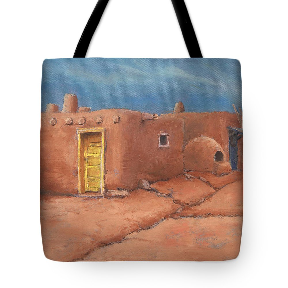 Taos Tote Bag featuring the painting One Yellow Door by Jerry McElroy