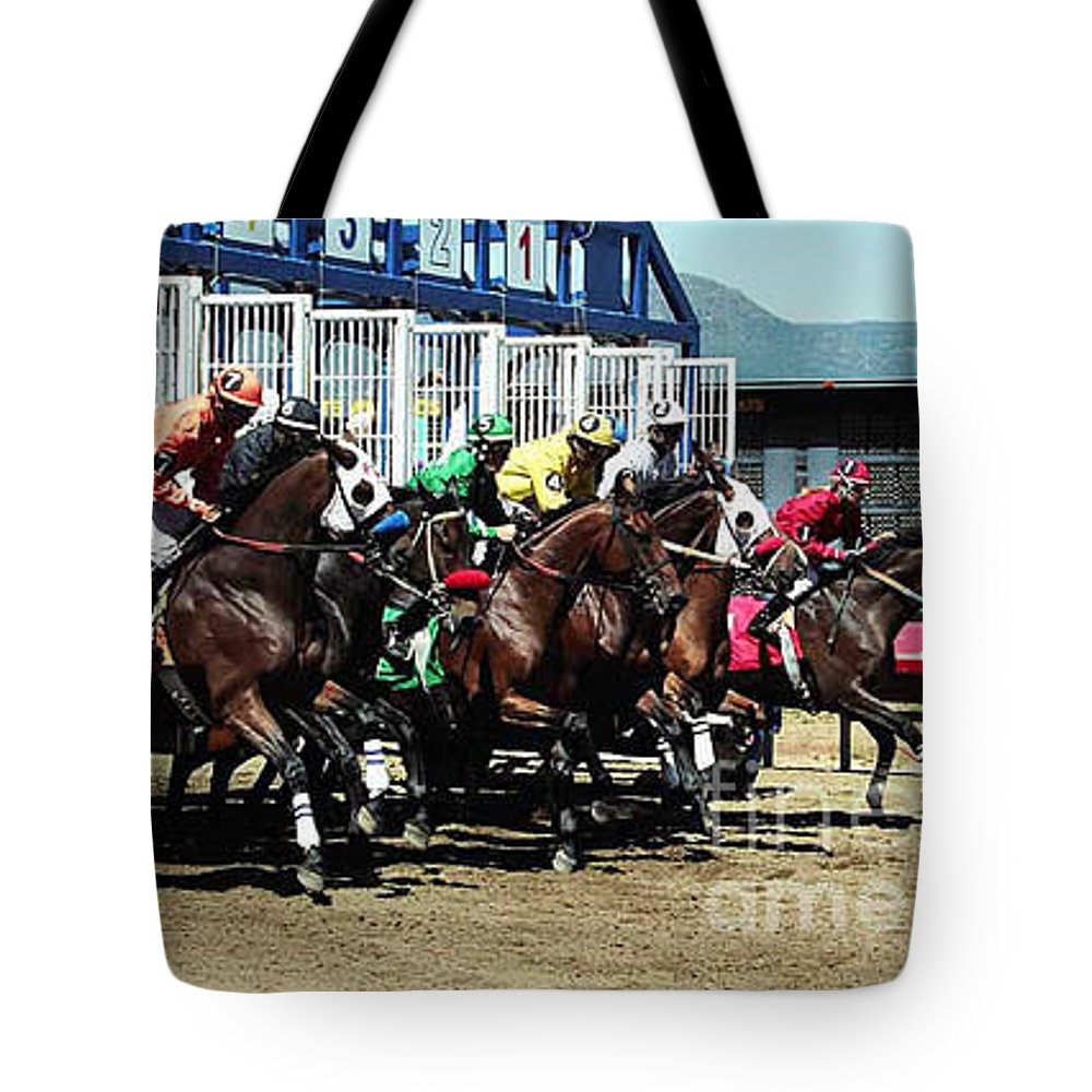 Horse Tote Bag featuring the photograph Only A Mile To Go by Kathy McClure