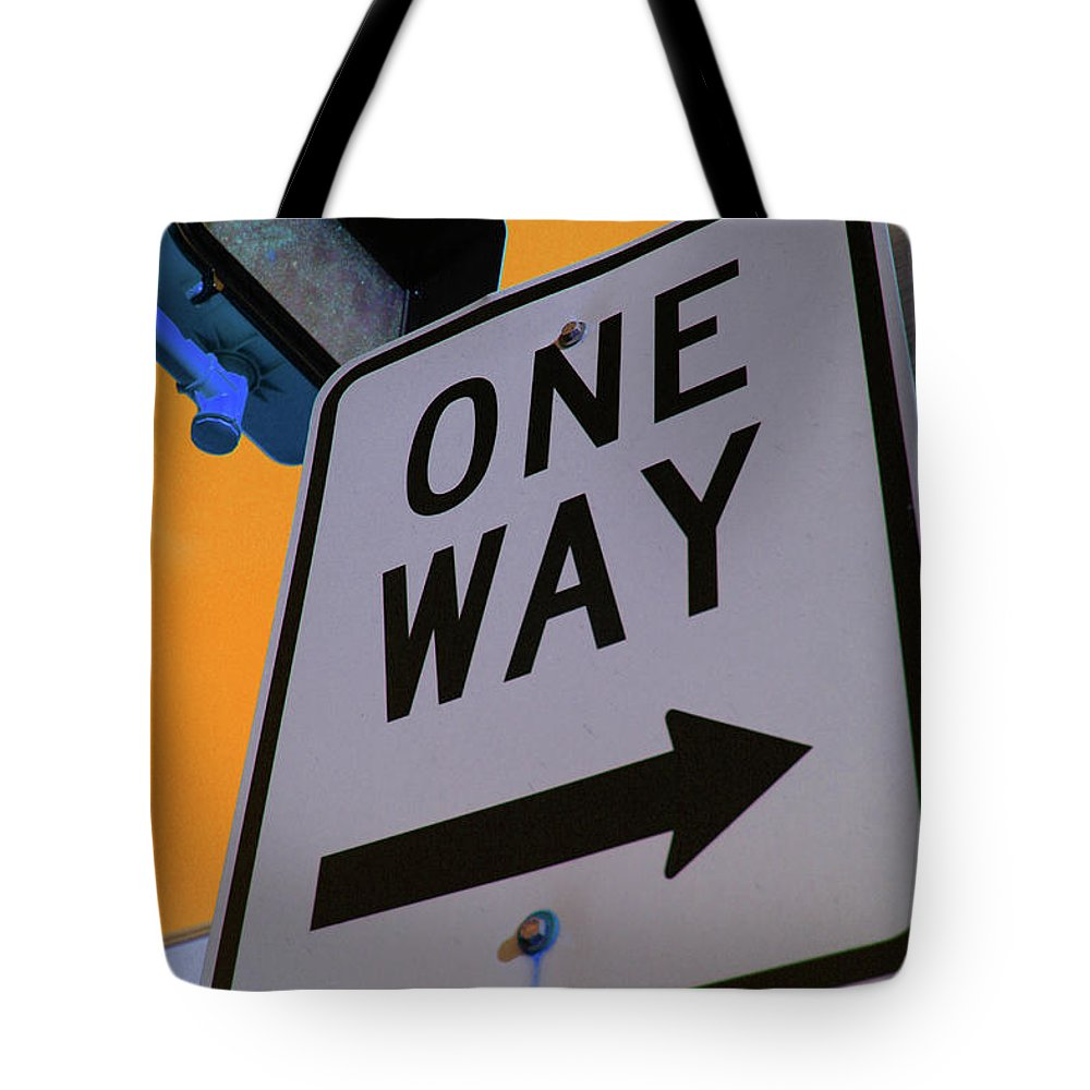 Street Sign Tote Bag featuring the photograph Only One Way by Karol Livote