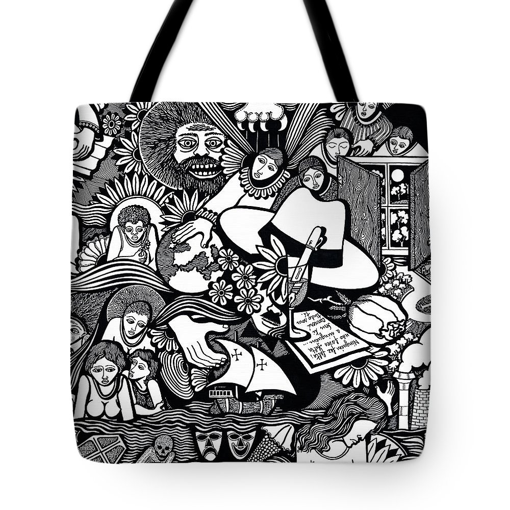 Drawing Tote Bag featuring the drawing Only You Are Important To Yourself by Jose Alberto Gomes Pereira