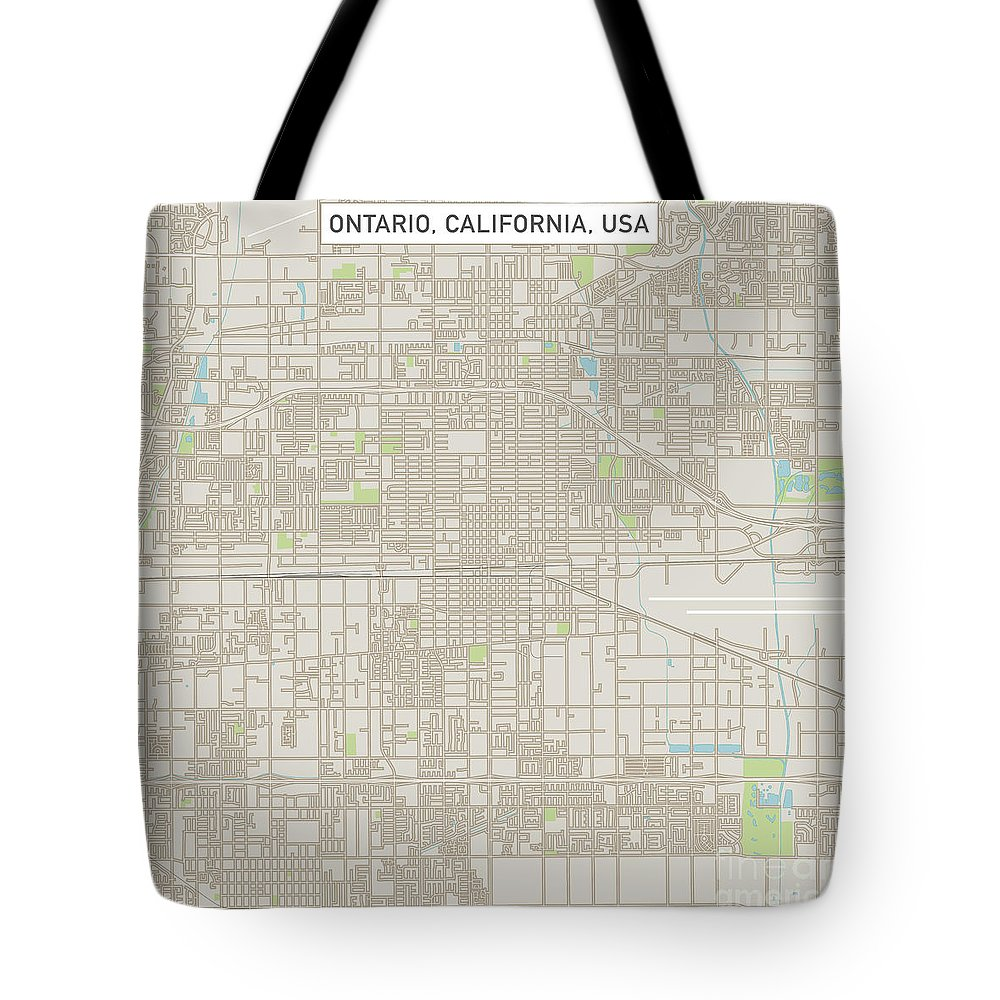 Ontario Tote Bag featuring the digital art Ontario California Us City Street Map by Frank Ramspott