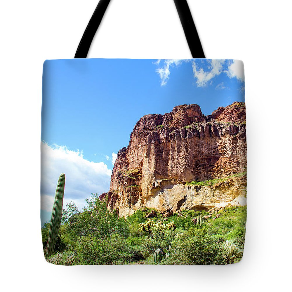 Onward And Upward Tote Bag featuring the photograph Onward And Upward At The Superstition Mountains Of Arizona by Amy Sorvillo