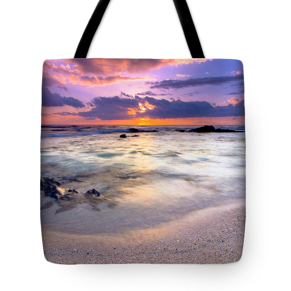 Sandy Beach Tote Bag featuring the photograph O'oma Beach Sunset by Christopher Johnson