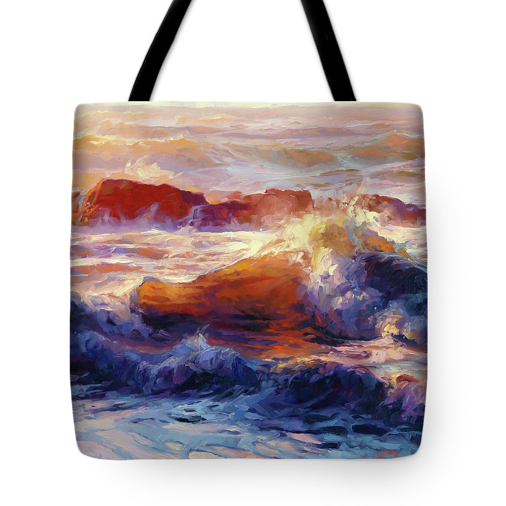 Ocean Tote Bag featuring the painting Opalescent Sea by Steve Henderson