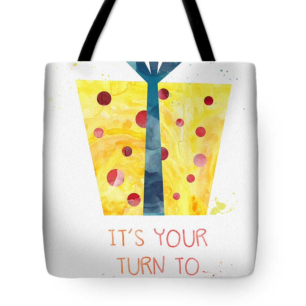 Birthday Tote Bag featuring the mixed media Open Gifts- Card by Linda Woods