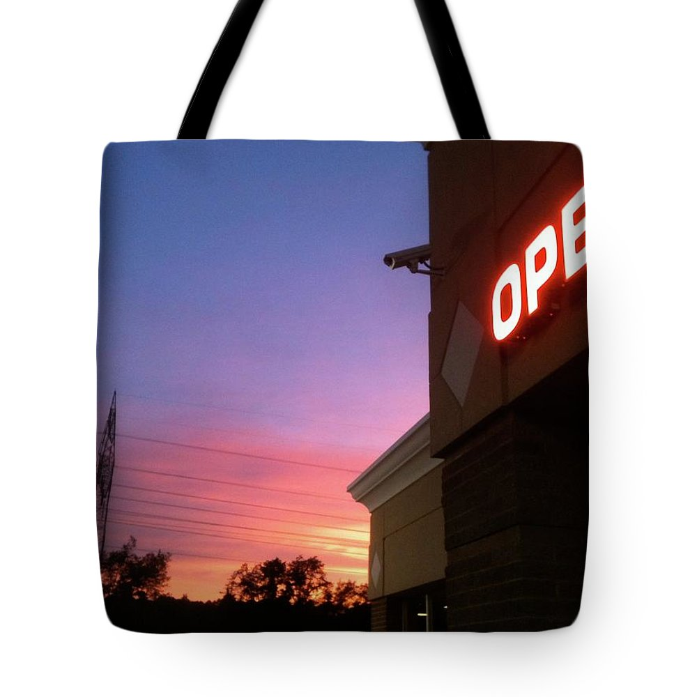 Open Tote Bag featuring the photograph Open Late by Trish Hale