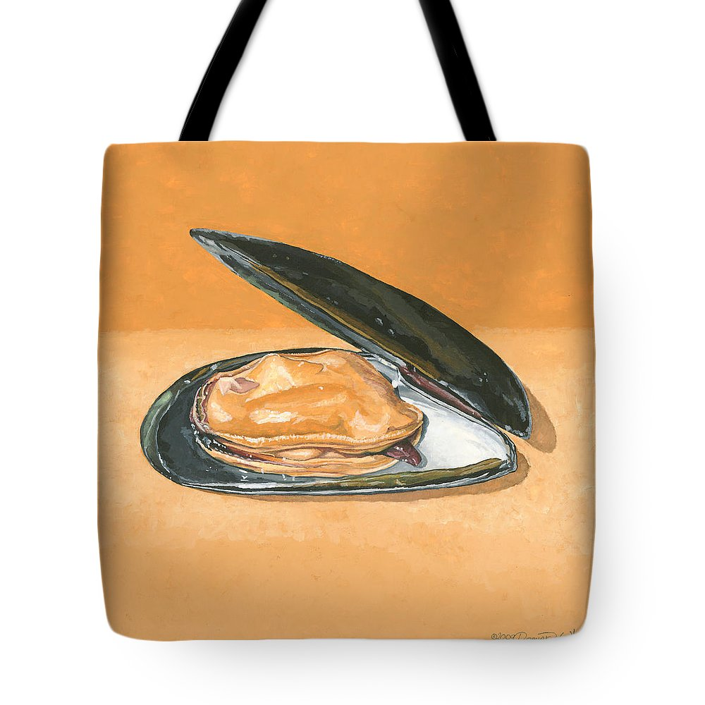 Mussel Tote Bag featuring the painting Open Mussel by Dominic White
