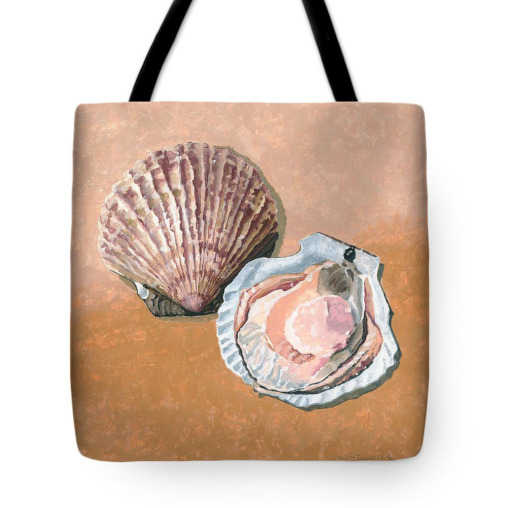Scallop Tote Bag featuring the painting Open Scallop by Dominic White