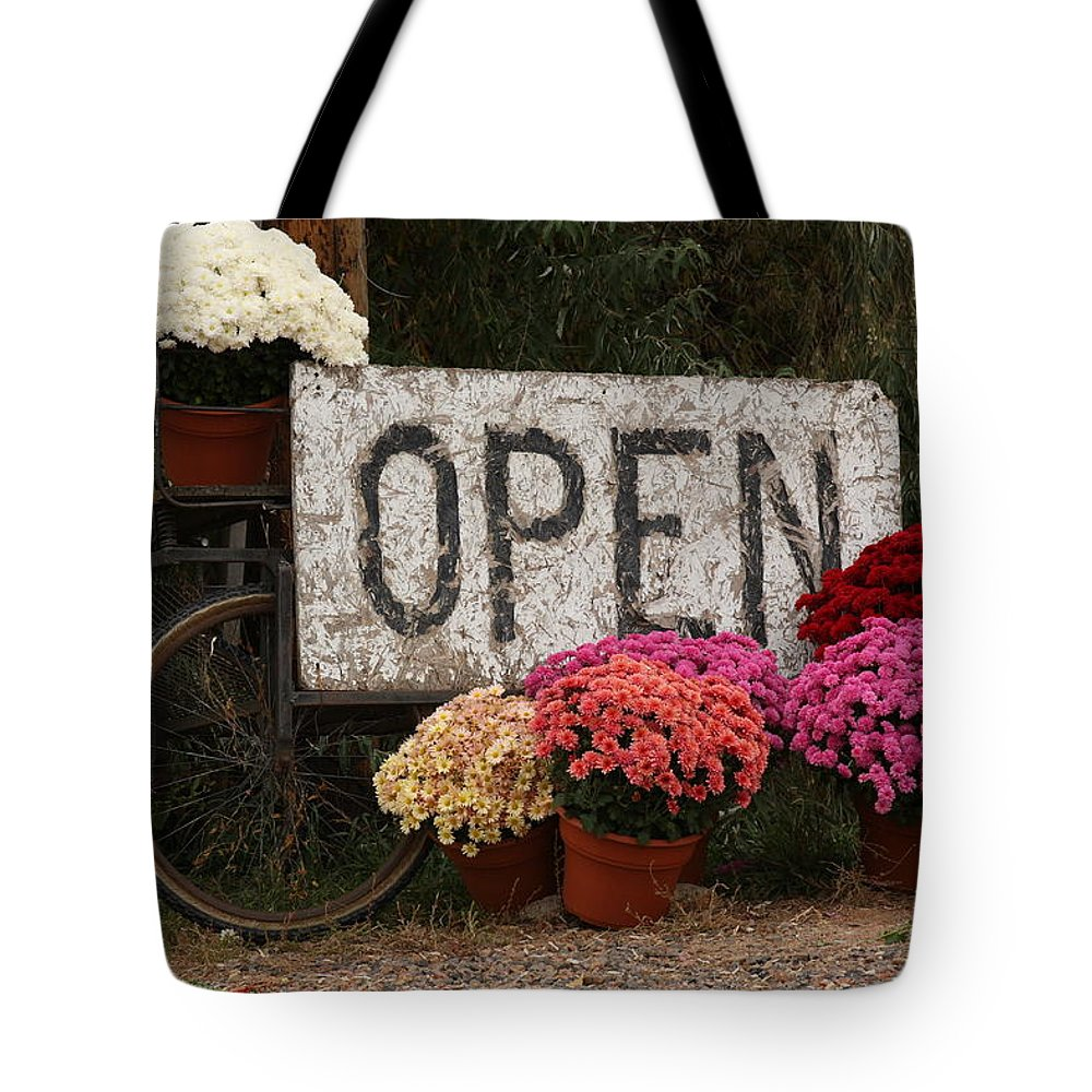 Mums Tote Bag featuring the photograph Open Sign With Flowers Fine Art Photo by James BO Insogna