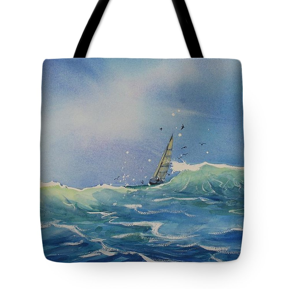 Watercolor Painting Tote Bag featuring the painting Open Waters by Laura Lee Zanghetti
