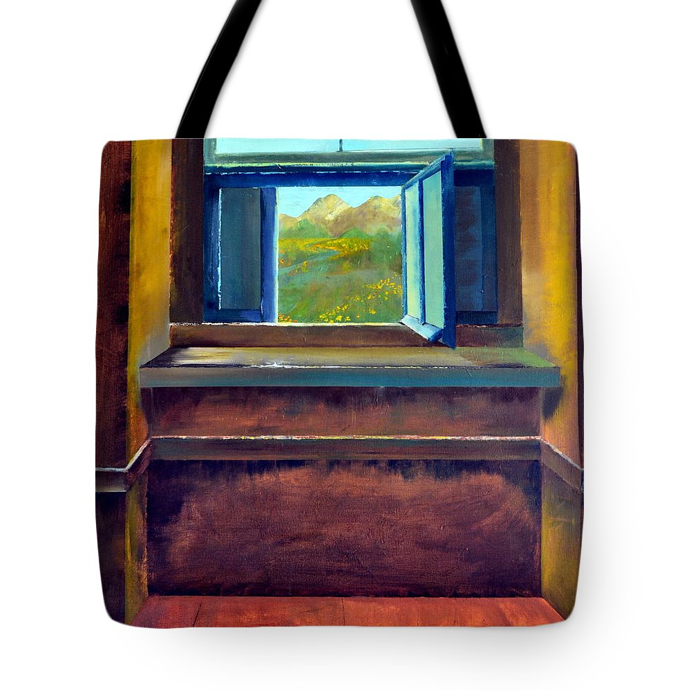Trompe L'oeil Tote Bag featuring the painting Open Window by Michelle Calkins
