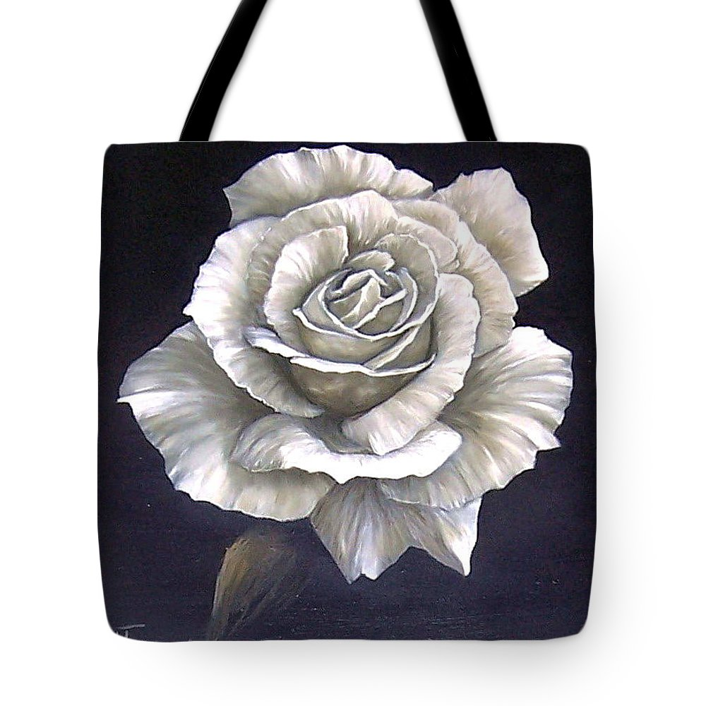 Rose Flower Tote Bag featuring the painting Opened Rose by Natalia Tejera