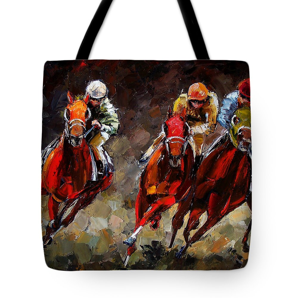 Horse Race Tote Bag featuring the painting Opening Day by Debra Hurd